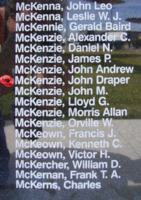Memorial– Flight Sergeant John Draper McKenzie is also commemorated on the Bomber Command Memorial Wall in Nanton, AB … photo courtesy of Marg Liessens