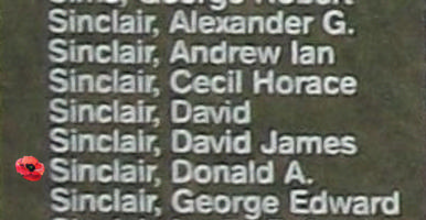 Memorial– Sergeant Donald Alexander Sinclair is commemorated on the Bomber Command Memorial Wall in Nanton, AB … photo courtesy of Marg Liessens