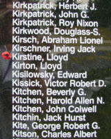 Memorial– Warrant Officer Class II Lloyd Kirstine is also commemorated on the Bomber Command Memorial Wall in Nanton, AB … photo courtesy of Marg Liessens