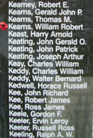 Memorial– Flight Lieutenant Air Gunner William Robert Kearns is also commemorated on the Bomber Command Memorial Wall in Nanton, AB … photo courtesy of Marg Liessens