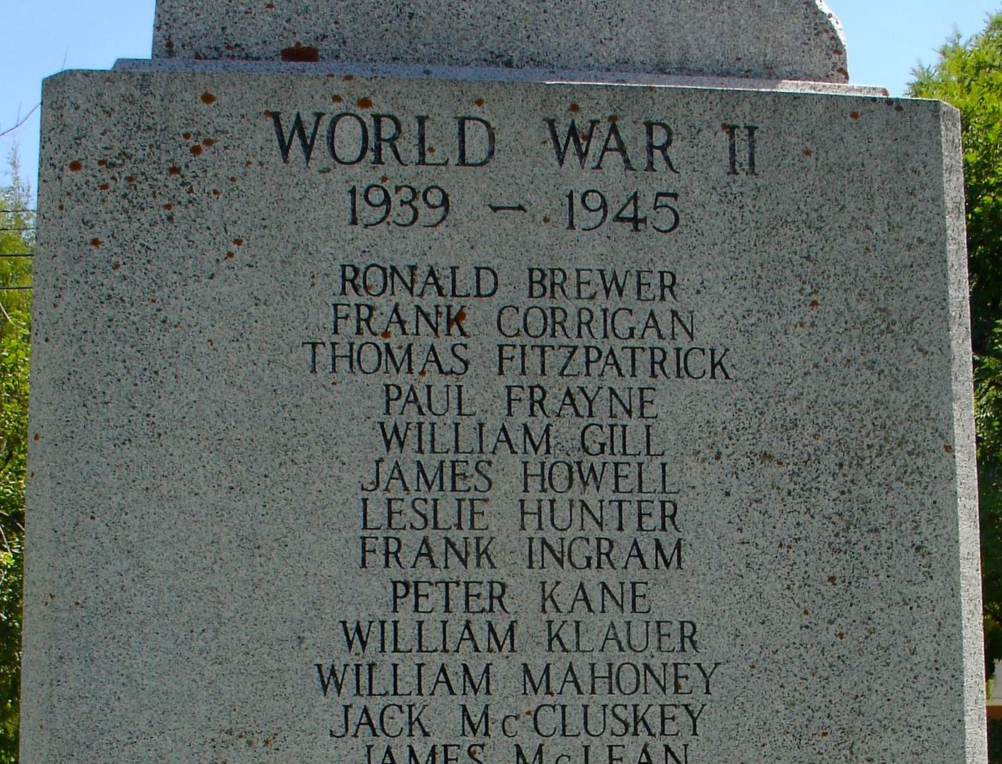 Inscription– List of men's names on cenotaph in Fernie, British Columbia.