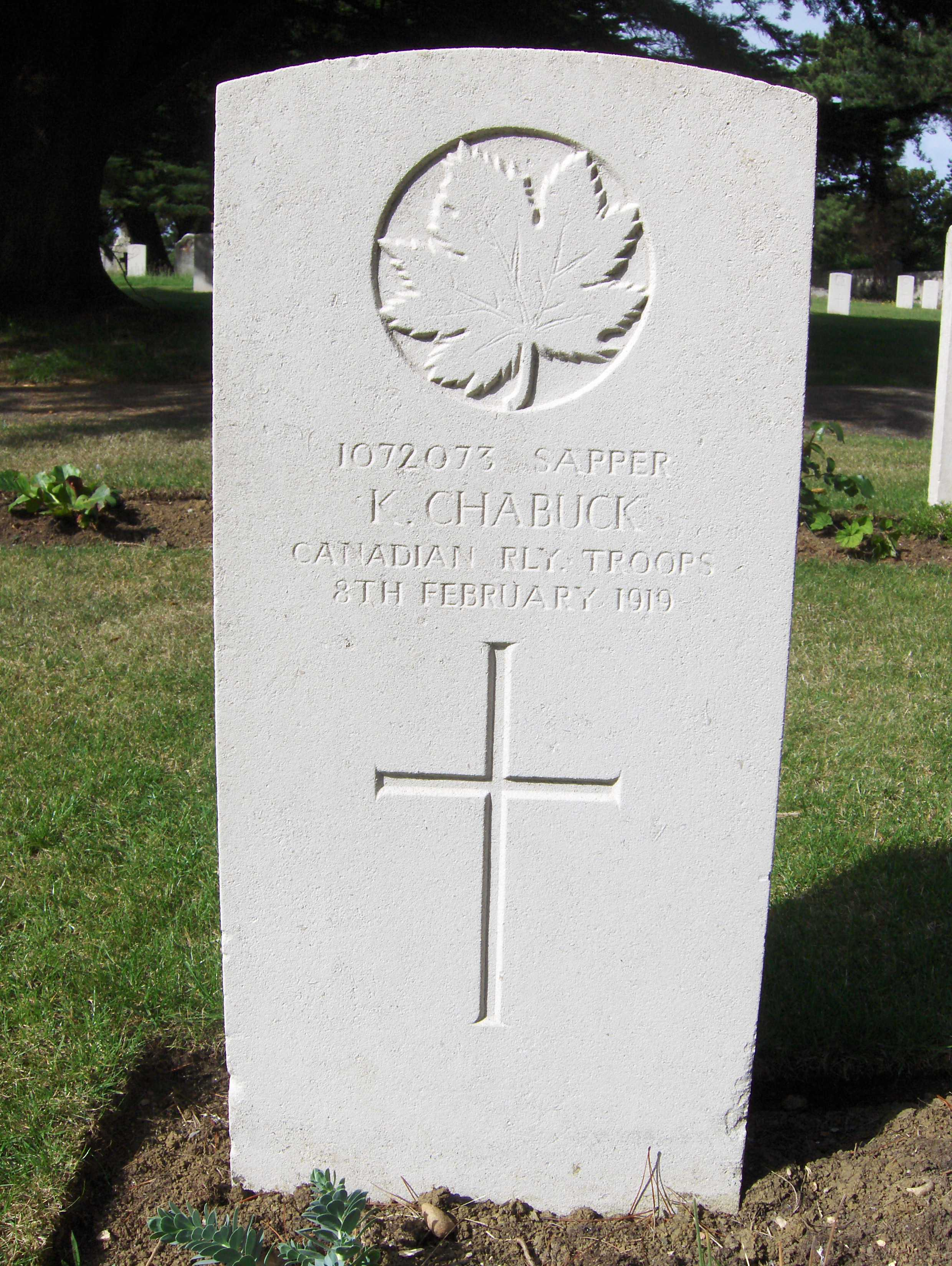 Grave Marker– Headstone of Sapper K Chabuck in Melcombe Regis War Cemetery, Weymouth, Dorset, England. He died in the A.I.F. No.2 Command Depot at Weymouth, probably from the Spanish 'flu.