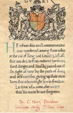 Scroll– Harry Fradsham's Certificate of Death.