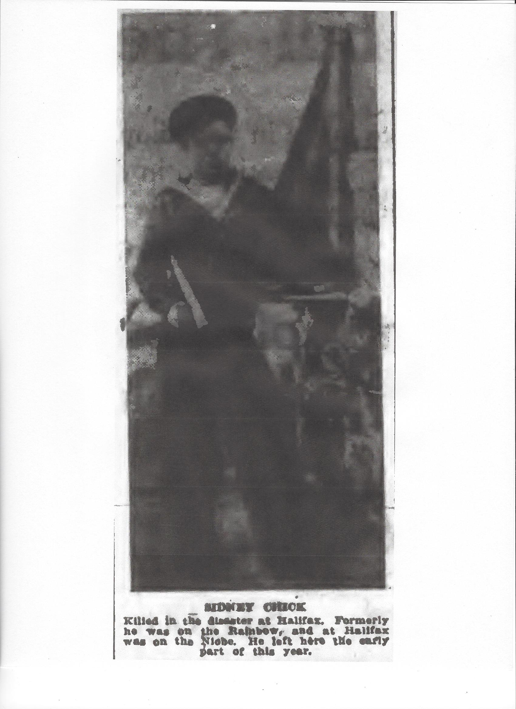 Photo of SIDNEY CHICK– Photograph from the Daily Colonist of December 16, 1917. Image taken from web address of http://archive.org/stream/dailycolonist59by320uvic#page/n0/mode/1up
