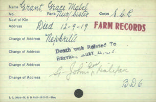 Circumstances of death– Nursing Sister Grace Mabel Grant dies on Sep 12 1919. Canadian Army Medical Corps. Died of Nephritis ( inflammation of the kidneys)   http://www.collectionscanada.gc.ca/microform-digitization/006003-119.01-e.php?q2=36&q3=2875&sqn=715&tt=1189&PHPSESSID=1qcus4r4c7eqgdrv3v1pk1lrd4i91djs7riehnmfd11h7g7tvqu0