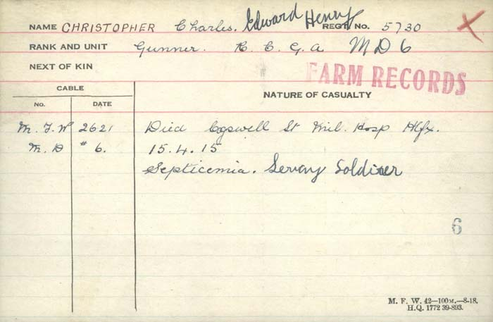 Death Card– Library and Archives Canada