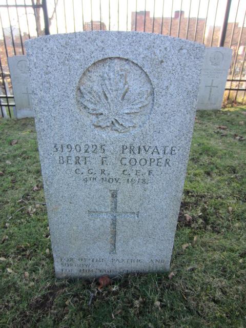 Grave Marker– Grave marker for Bert Frederick Cooper at Fort Massey Cemetery, Halifax, Nova Scotia, Canada. Image taken 26 December 2015 by Tom Tulloch.