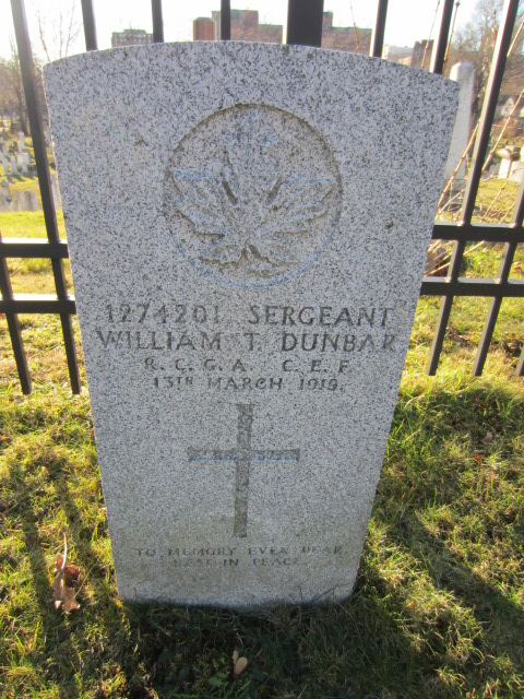 Grave Marker– Grave marker for William Thomas Dunbar at Fort Massey Cemetery, Halifax, Nova Scotia, Canada. Image taken 26 December 2015 by Tom Tulloch.