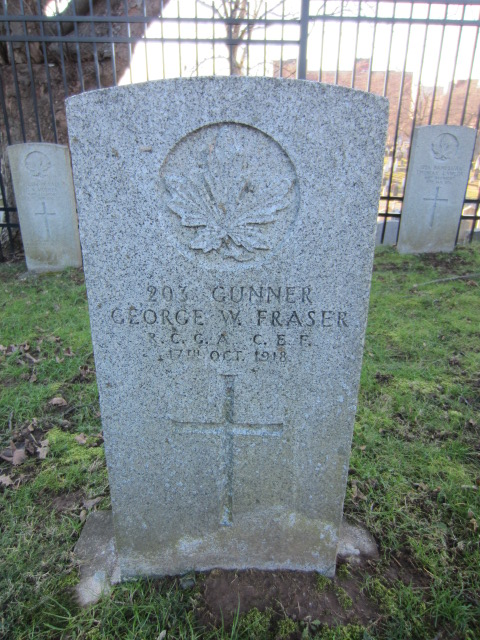 Grave Marker– Grave marker for George Fraser at Fort Massey Cemetery, Halifax, Nova Scotia, Canada.