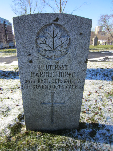 Grave Marker– Grave marker for Harold How (Howe) in Fort Massey Cemetery, Halifax, Nova Scotia, Canada.