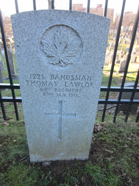 Grave Marker– Grave marker for Thomas Lawlor at Fort Massey Cemetery, Halifax, Nova Scotia, Canada.