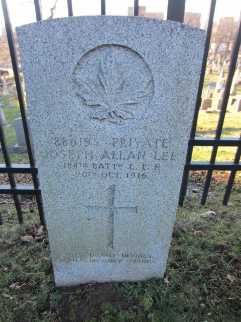 Grave Marker– for Joseph Allan Lee at Fort Massey Cemetery, Halifax, Nova Scotia, Canada.