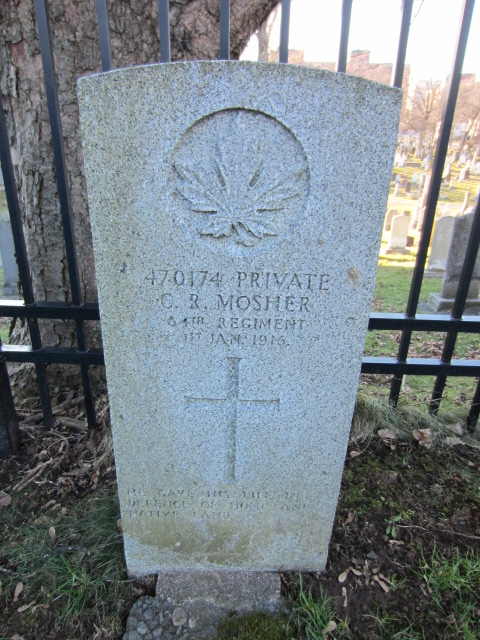 Grave Marker– Grave marker for Charles Mosher at Fort Massey Cemetery, Halifax, Nova Scotia, Canada. Image taken 26 December 2015 by Tom Tulloch.