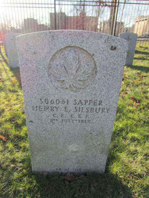 Grave Marker– Grave marker for Henry Edgar Silsbury at Fort Massey Cemetery, Halifax, Nova Scotia, Canada. Image taken 26 December 2015 by Tom Tulloch.
