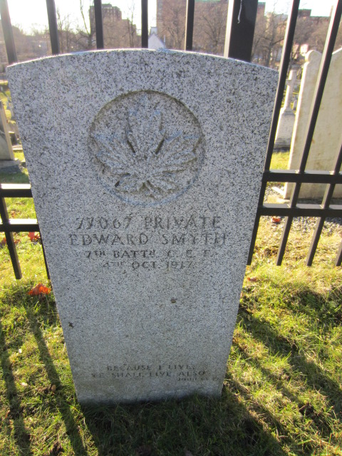 Grave Marker– Grave marker for Edward Smyth at Fort Massey Cemetery, Halifax, Nova Scotia, Canada.