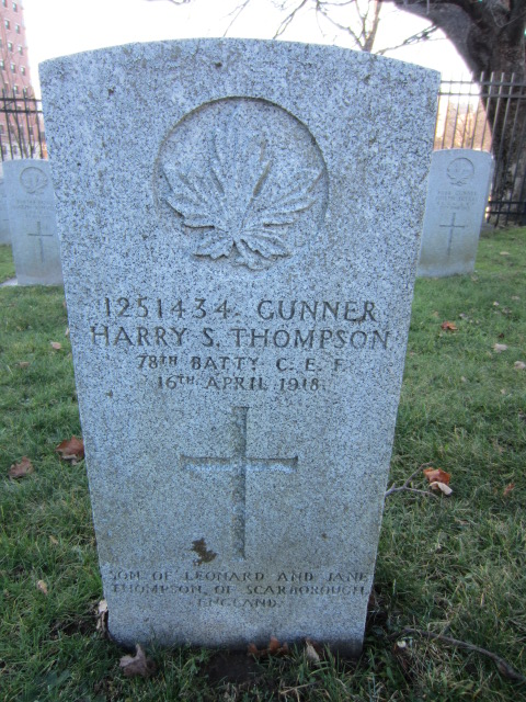 Grave Marker– Grave marker for Harry Sidney Thompson at Fort Massey Cemetery, Halifax, Nova Scotia, Canada.