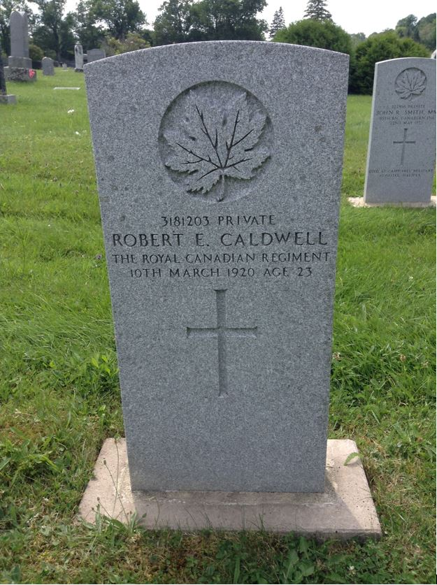 Grave marker– A photograph of the grave marker for Robert Ervin Caldwell at Maplewood Cemetery in Windsor, Nova Scotia, Canada.