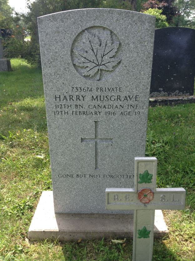 Grave marker– A photograph of the grave marker for Harry Musgrave at Maplewood Cemetery in Windsor, Nova Scotia, Canada.