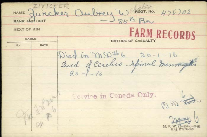 Circumstances of Death Registers– Pte Aubrey Zwicker died in medical district #6 Jan 20 1916. He died of cerebro spinal meningitis
