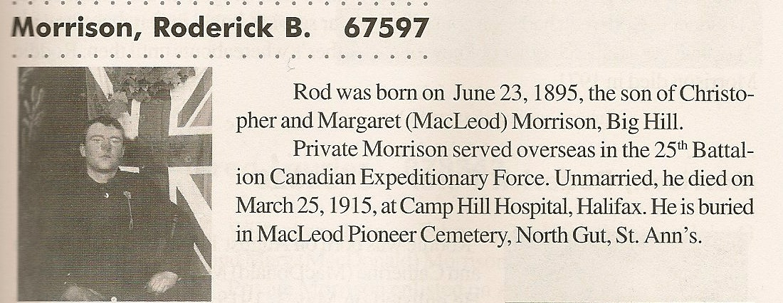 """Biography– Submitted with the permission of Bonnie Thornhill, from the book """"In the Morning Veterans of Victoria County, Cape Breton. Submitted for the project, Operation: Picture Me"""