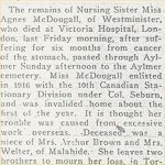 Press Clipping– Newspaper death notice from the Aylmer Express for Nursing Sister Agnes McDougall who is buried at the Aylmer Cemetery in Elgin County, Ontario, Canada.