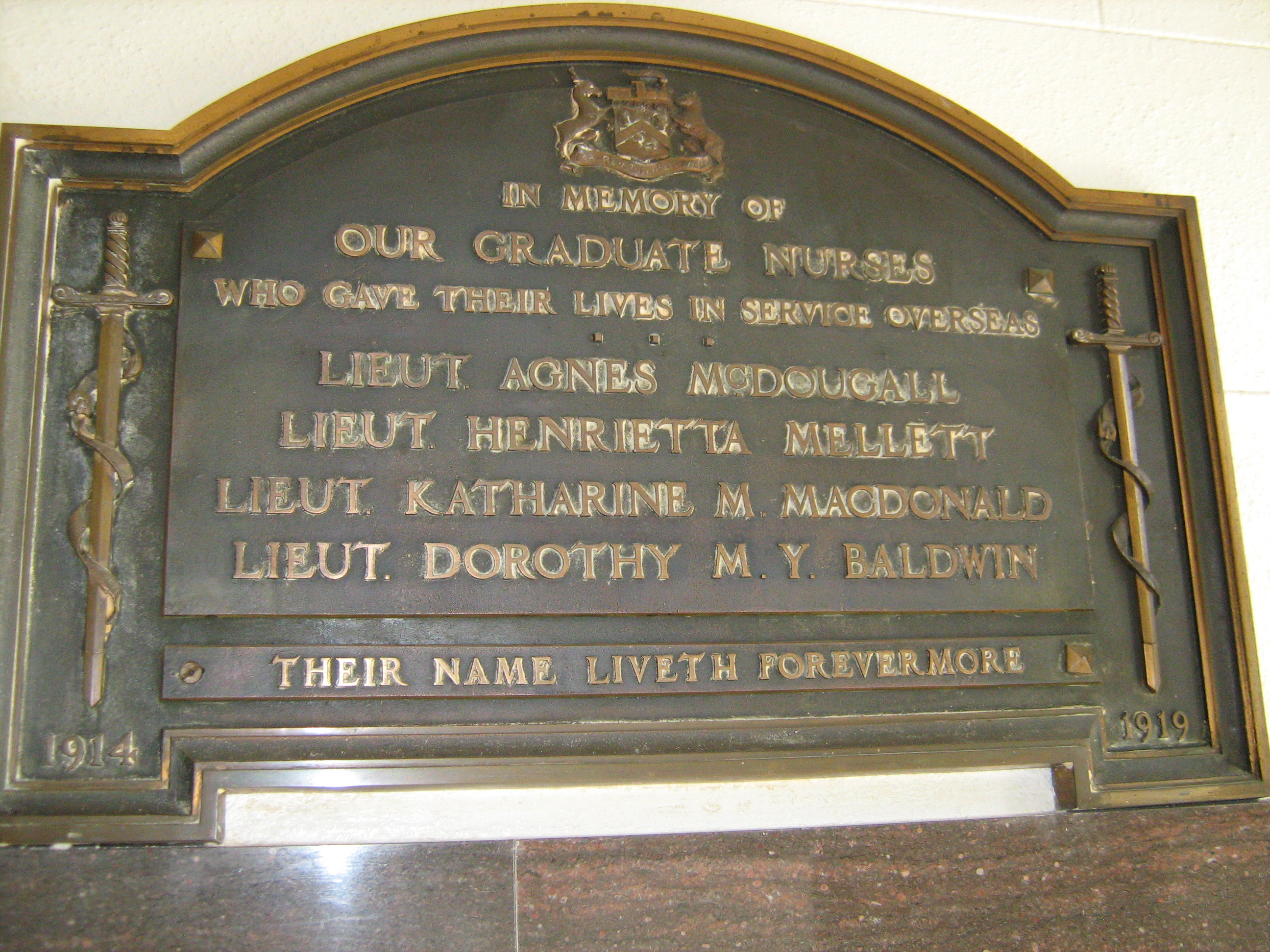 Memorial– Honour Roll plaque in the Victoria Hospital Nursing School (now closed) South Street, London Ontario. From Dr Jonathan Vance Western University by permission