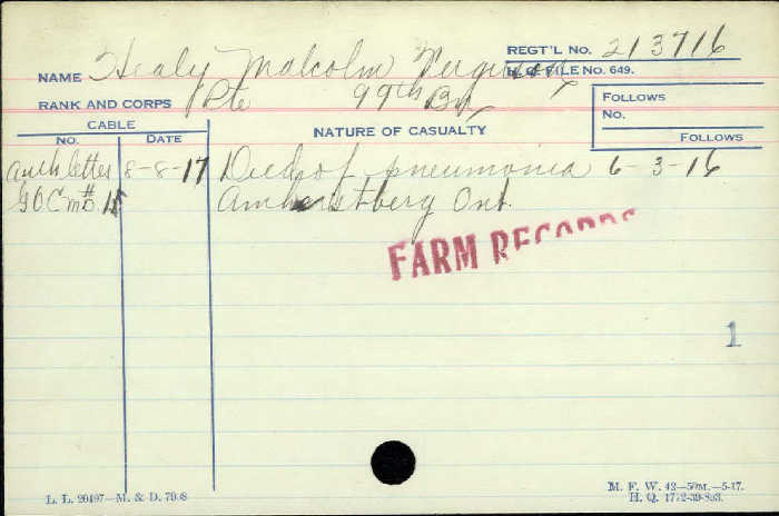 Circumstances of Death– Private Malcolm Healy -  Canadian Infantry, Canadian Expeditionary Force 99th Bn. Son of John and Catherine Healy of Amherstburg. Époux of Catherine Healy, of Amherstburg, Ont. Died of pneumonia in Amherstburg Ontario.   http://www.collectionscanada.gc.ca/microform-digitization/006003-119.01-e.php?q2=36&q3=2880&sqn=175&tt=1289&PHPSESSID=mhk1mfepp20jfu0kdvov3bgst0