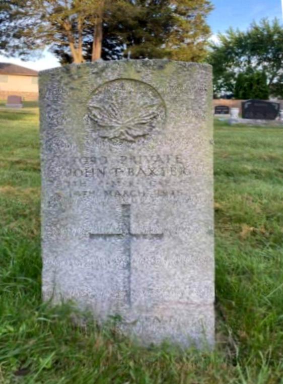 Grave marker– Baxter tombstone, Rose Hill Cemetery, Amherstburg