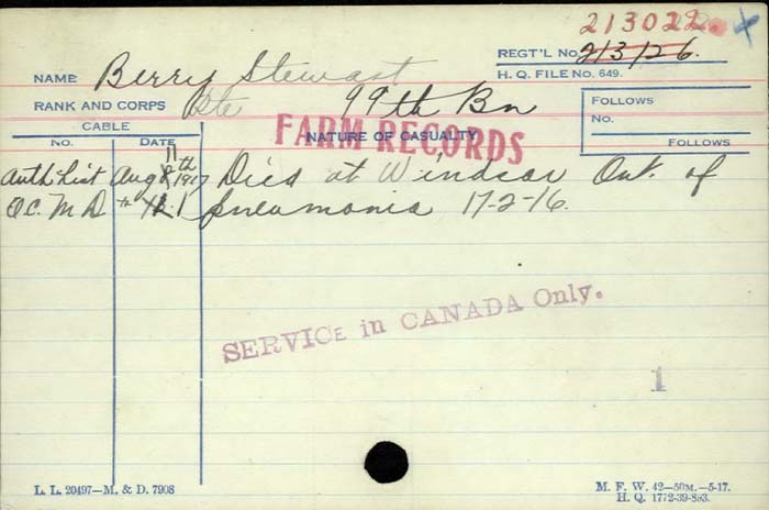 Death Certificate– Private Stewart Berry -  Canadian Infantry, CEF, 99th Bn. Son of Alfred C. and Laura Berry, of Walkerville, Ontario. Died of pneumonia in Windsor Ontario.
