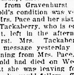 Newspaper clipping– Death of Private Harold TACKABERRY - The Essex Free Press - May 3, 1918 - Pg. 1