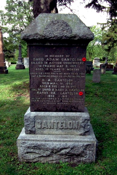 Grave Marker– Grave marker - Clinton Cemetery - September 2017 ... photo courtesy of Marg Liessens. His brother, David Adam Cantelon who is commemorated on the Vimy Memorial, is also remembered on this marker.