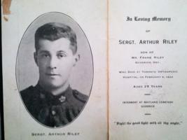 Photo of Arthur Riley– Sgt. Arthur Riley obituary notice 1920