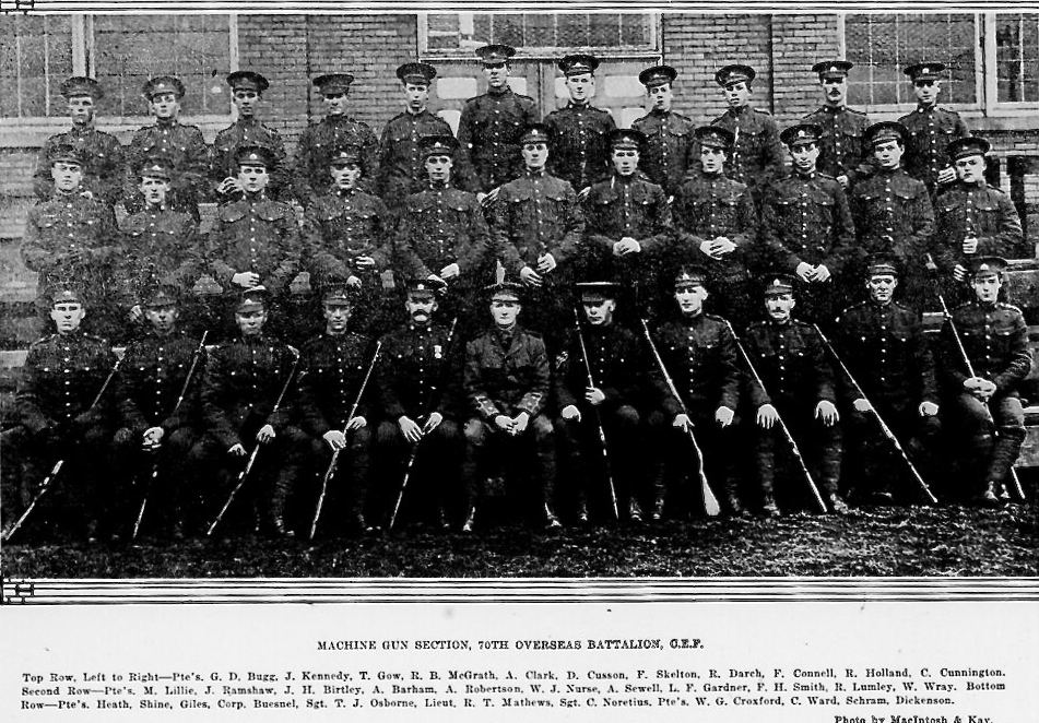 Newspaper clipping– Thomas row 3rd from left. In memory of the men and women of London, Ontario (and area) who went to war and did not come home. Remembered on the pages of the World War One issues of the London Advertiser. Submitted for the project Operation Picture Me