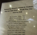 Memorial Plaque– Roll of Honour is located in the Middlesex Memorial Tower, University College. University of Western Ontario,  London Ontario.  Courtesy of University of Western Ontario Gazette