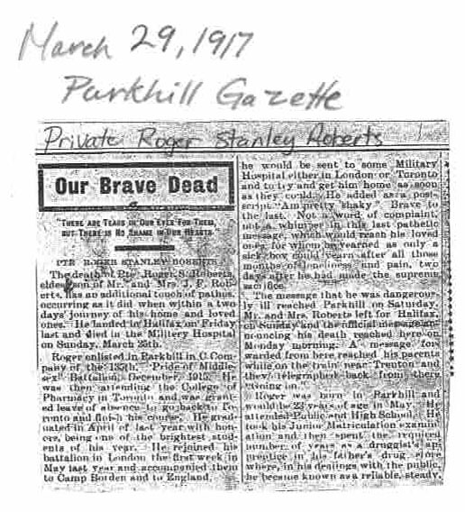 Newspaper clipping– Private Roger Stanley Roberts Newspaper Article (Page 1 of 2)