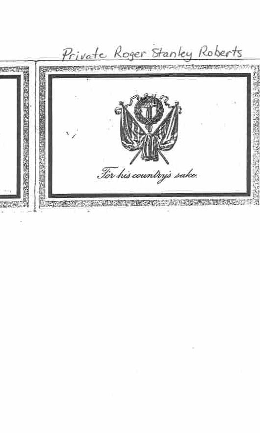 Funeral Card– Private Roger Stanley Roberts Funeral Card 1917 (page 1 of 2)