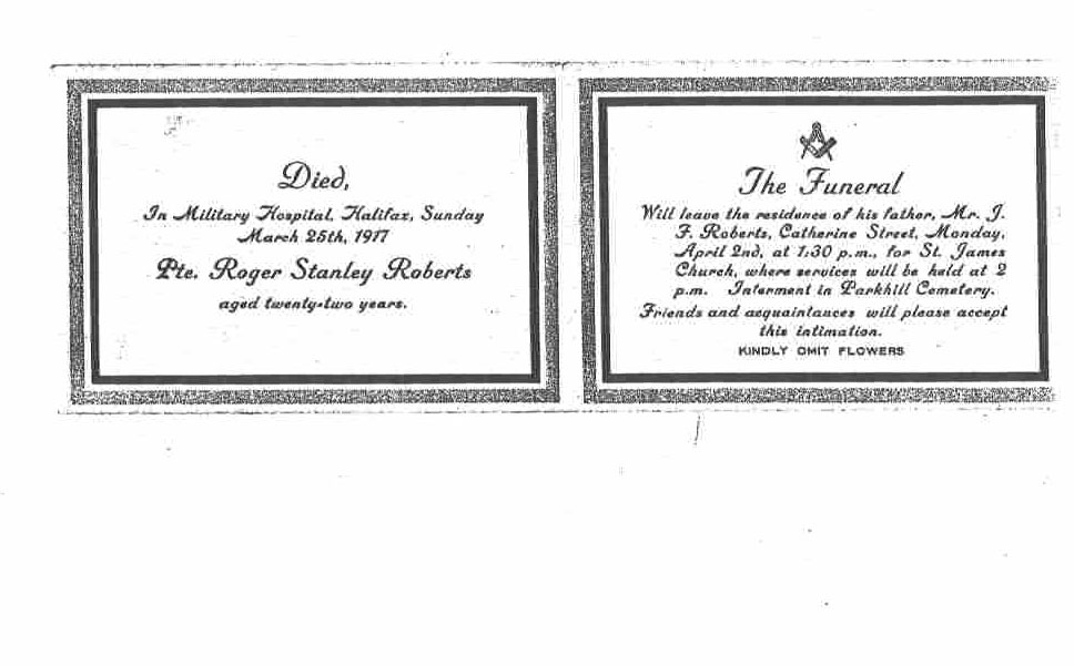 Funeral Card– Private Roger Stanley Roberts Funeral Card 1917 (page 2 of 2)
