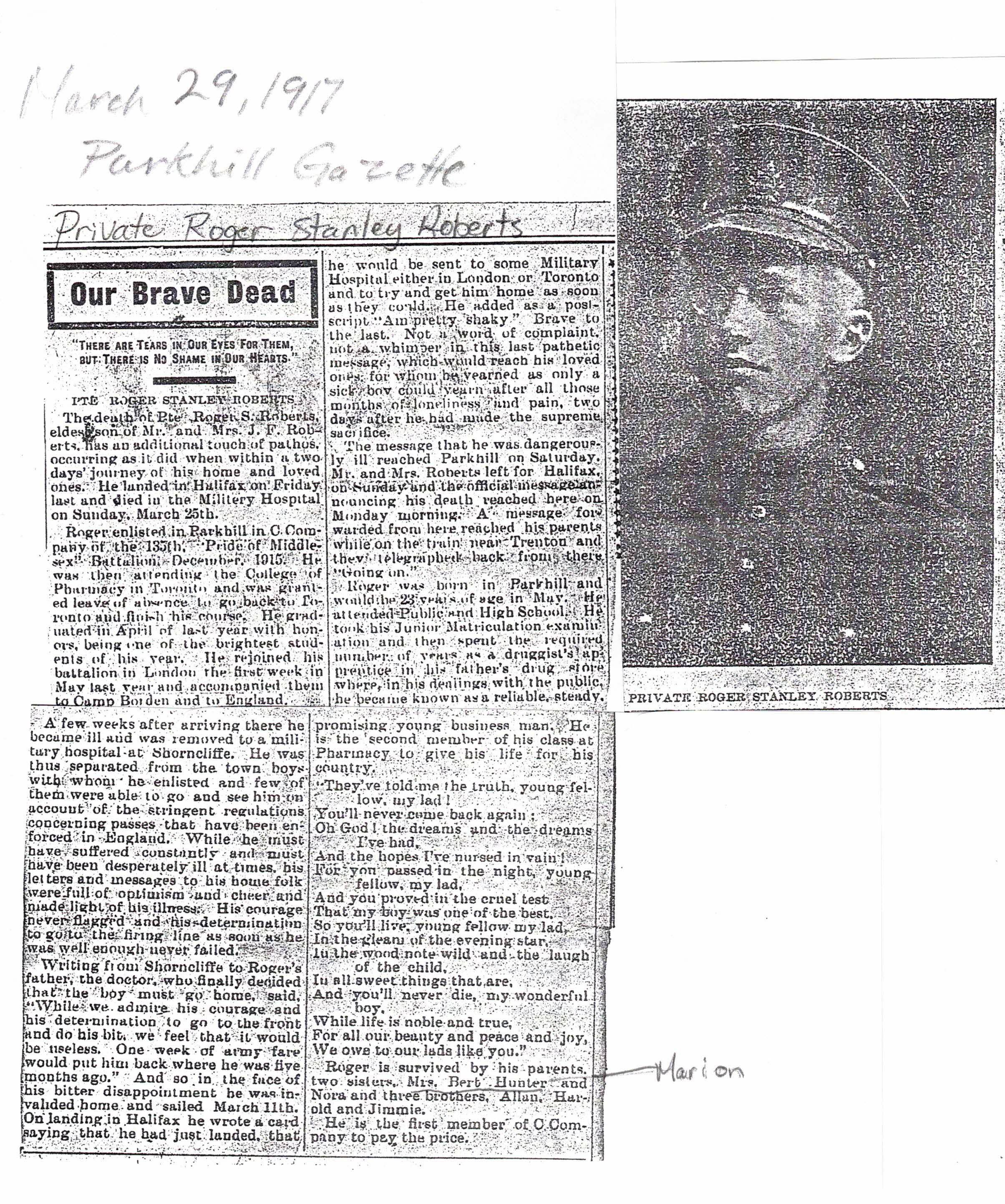 Newspaper clipping– Private Roger Stanley Roberts Newspaper Clipping with Photo 1917