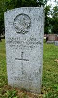 """Grave marker– Marker at the grave of Private John E. Terry MM, formerly of the 58th Battalion, in the Fairview Cemetery, Davidson Avenue North, Listowel, Ontario.  On 26 October 1917, while in action with the 58th Battalion at Passchendaele Ridge, Belgium, Pte Terry received a severe wound to his left forearm.  He was hospitalized in France and then England, and ultimately returned to Canada in February 1918, where he received further care.  On 17 November 1918, he died of illness, diagnosed as tubercular meningitis, at the Whitby Military Hospital in Whitby, Ontario.  He had been awarded the Military Medal (""""MM"""") for bravery in the field.  (Image taken by Gregory J. Barker of Barrie, Ontario, in 2018.)"""