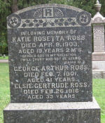 Grave marker– Avondale Cemetery gravestone for Elsie Gertrude Ross. A walking tour guide for the cemetery can be printed from www.stratfordpertharchives.on.ca