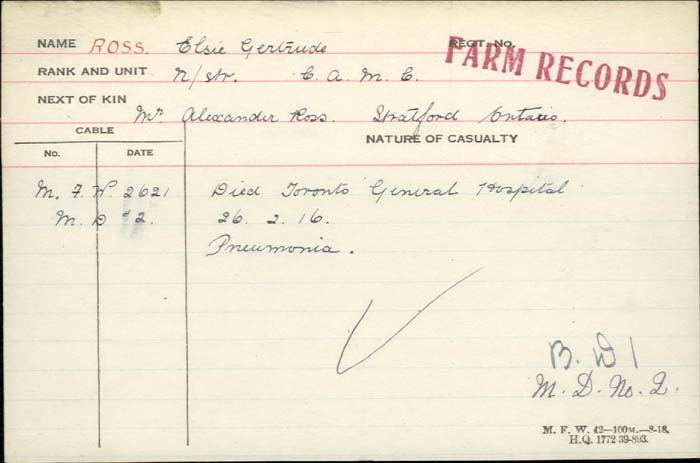 Circumstances of Death Registers– Nursing Sister Elsie Gertrude Ross - Canadian Army Medical Corps. Died from pneumonia at the Toronto General Hospital. http://www.collectionscanada.gc.ca/microform-digitization/006003-119.01-e.php?q2=36&q3=2919&sqn=134&tt=1326&PHPSESSID=eo3hb5ee37gfi8ijliuqdh90d5