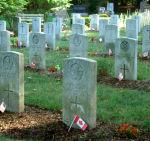 Cemetery– Pte. John Blair's grave is located within this military graves section in Woodlawn Cemetery, Guelph, Ontario.