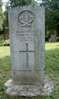 Grave marker– Marker at the grave of Private Leonard Kirk, 153rd (Wellington) Battalion, in the Harriston Cemetery, Harriston, Ontario.  Pte Kirk died of disease.  (Image taken by Gregory J. Barker of Barrie, Ontario, in 2018.)