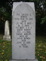 Grave Marker– Archie Bowen's grave along Hwy 7 in Marmora, Ontario.
