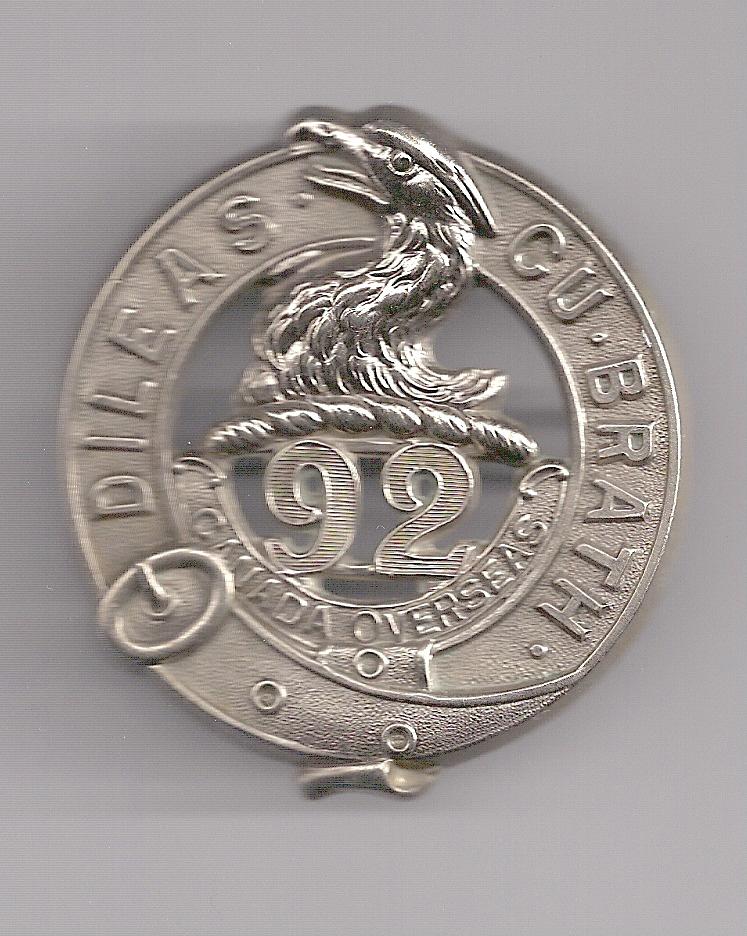 Badge– Cap Badge 92nd Bn (48th Highlanders of Canada).