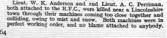 Newspaper Clipping– This is a brief news report of the corner's inquest into the deaths of Lieutenant W. K. Anderson and another flier.  It appeared on page 64 of the January 17, 1918 issue of Flight, the magazine of the Royal Aero Club of the United Kingdom.