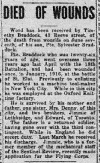 Newspaper clipping– Sentinel - Review. June 10 1918. Page 1. (Woodstock, Ontario).  Contributed by E.Edwards www.18thbattalioncef.wordpress.com