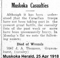 Newspaper clipping– Muskoka Herald 25-Apr-1918
