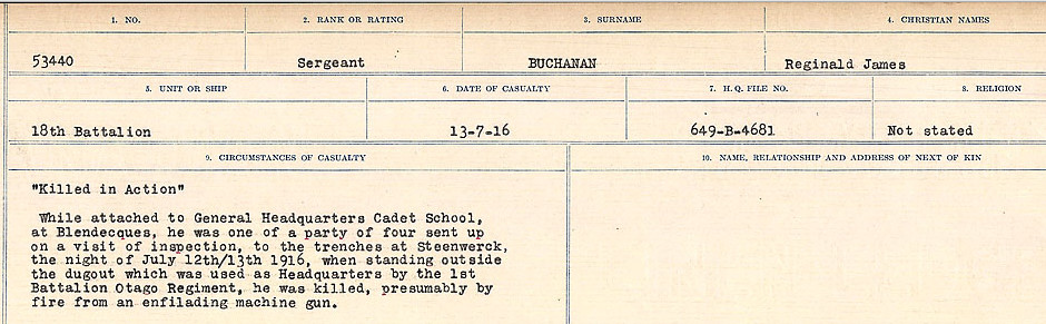 Circumstances of Death Registers– Source: Library and Archives Canada.  CIRCUMSTANCES OF DEATH REGISTERS FIRST WORLD WAR Surnames: Brubacher to Bunyan. Mircoform Sequence 15; Volume Number 31829_B016724; Reference RG150, 1992-93/314, 159 Page 307 of 668