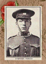 """Photo of Stephen Tomer– Source: Portraits of 28 Woodstock New Brunswick men who died during the first World War were published in the """"All Woodstock Number"""" of the August 1922 issue of """"The Busy East of Canada"""" (Vol. 13, No. 1).  This section was captioned:  """"Woodstock Boys, Who Made the Supreme Sacrifice in the Great War"""".  Retouching:  M. I. Pirie, 2011."""